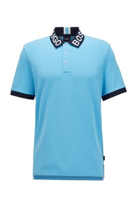 Regular-fit polo shirt with logo collar, Turquoise