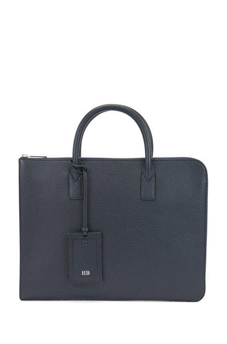 Document case in embossed Italian leather, Dark Blue