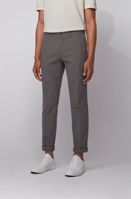 Extra-slim-fit trousers in washable stretch cotton, Grey
