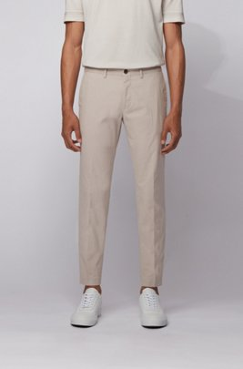 Extra-slim-fit trousers in washable stretch cotton, Light Beige