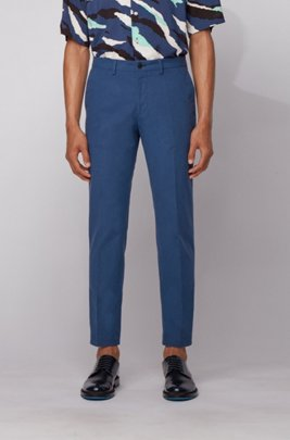 Extra-slim-fit trousers in washable stretch cotton, Light Blue