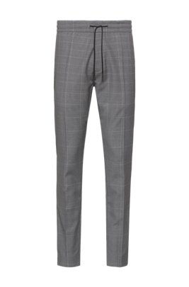 Pantalon Tapered Fit en laine vierge à motif à carreaux discret, Gris chiné