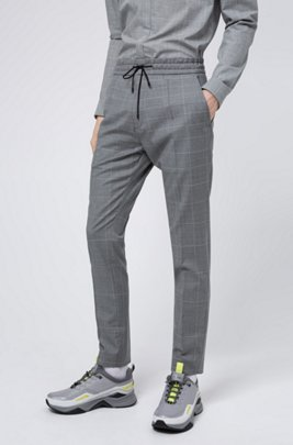 Tapered-fit trousers in dégradé-check virgin wool, Light Grey