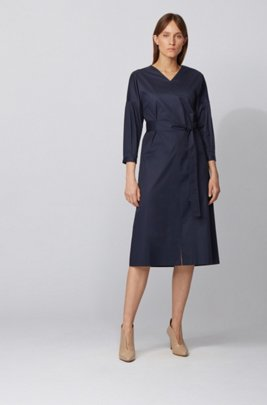 Puff-sleeve striped dress in paper-touch stretch cotton, Dark Blue