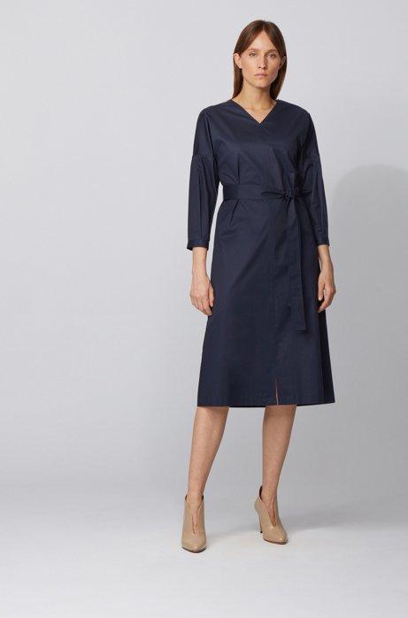 Gestreiftes Kleid aus Stretch-Baumwolle mit Paper-Touch-Finish und Puffärmeln, Dunkelblau