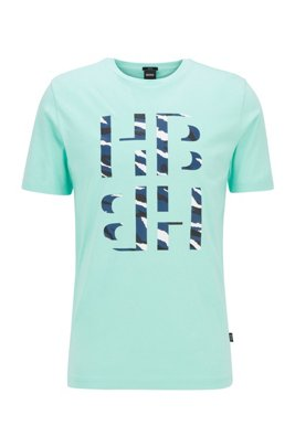 Slim-fit T-shirt met monogram met dierenprint met 3D-effect, Kalk
