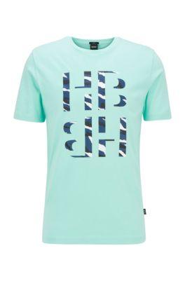 Slim-fit T-shirt met monogram met dierenprint met 3D-effect, Kalk
