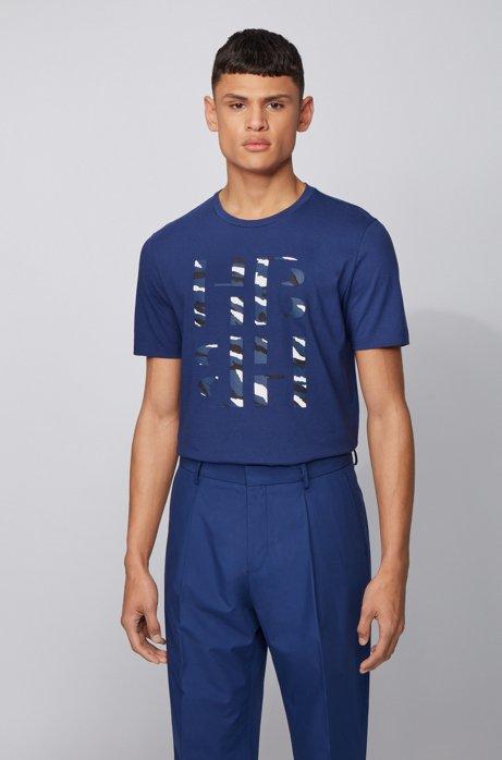 Slim-fit T-shirt with 3D-effect animal-print monogram, Dark Blue