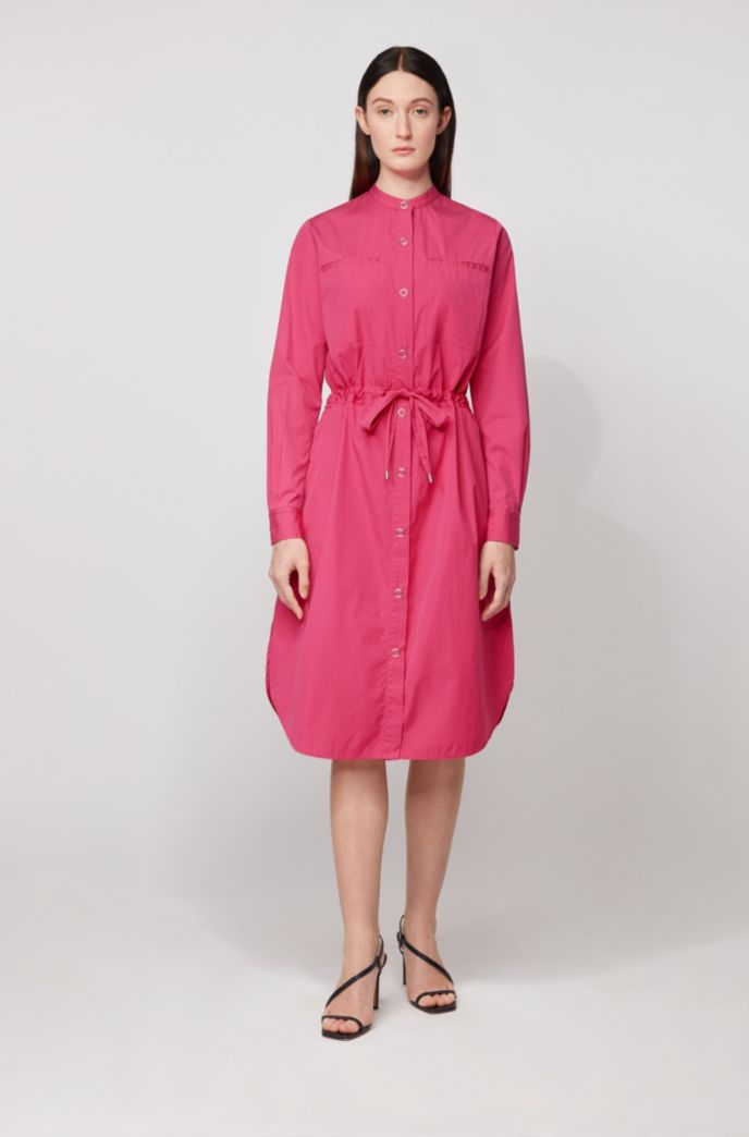Relaxed-fit shirt dress in cotton with drawstring waist
