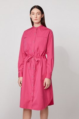 Robe-chemise Relaxed Fit en coton avec taille à cordon de serrage, Rose