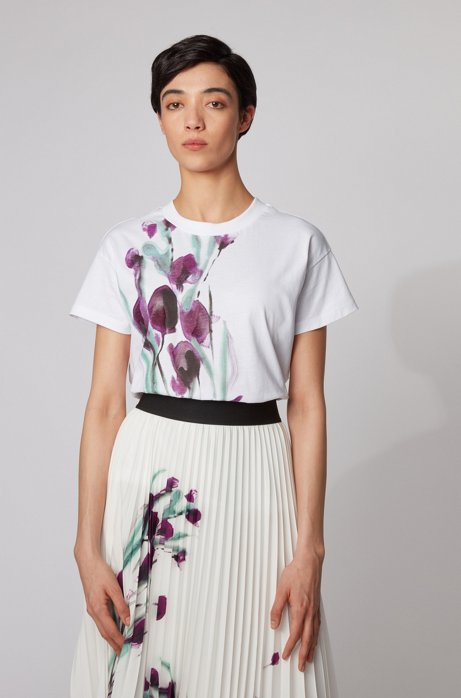 Cotton-jersey top with mixed-print artwork, Patterned