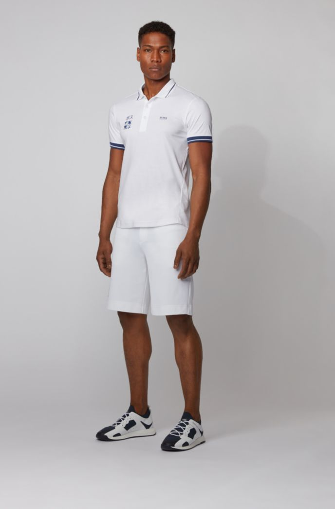 Slim-fit polo shirt in cotton with Tokyo artwork