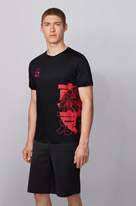 T-shirt slim fit in cotone biologico con stampa grafica di Tokyo, Nero