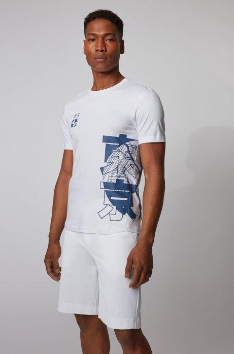 T-shirt Slim Fit en coton biologique avec motif artistique Tokyo, Blanc