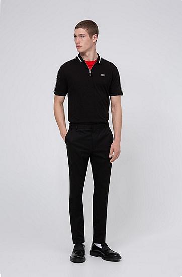 徽标滚边衣袖棉质珠地布拉链领 Polo 衫,  001_黑色