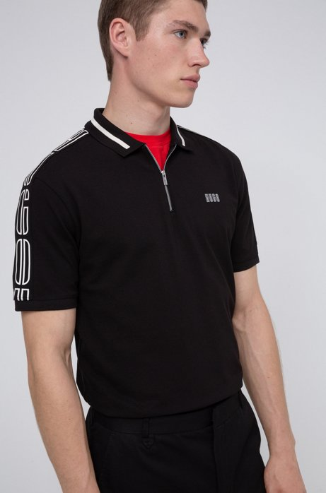 Cotton-piqué zip-neck polo shirt with logo tape sleeves, Black