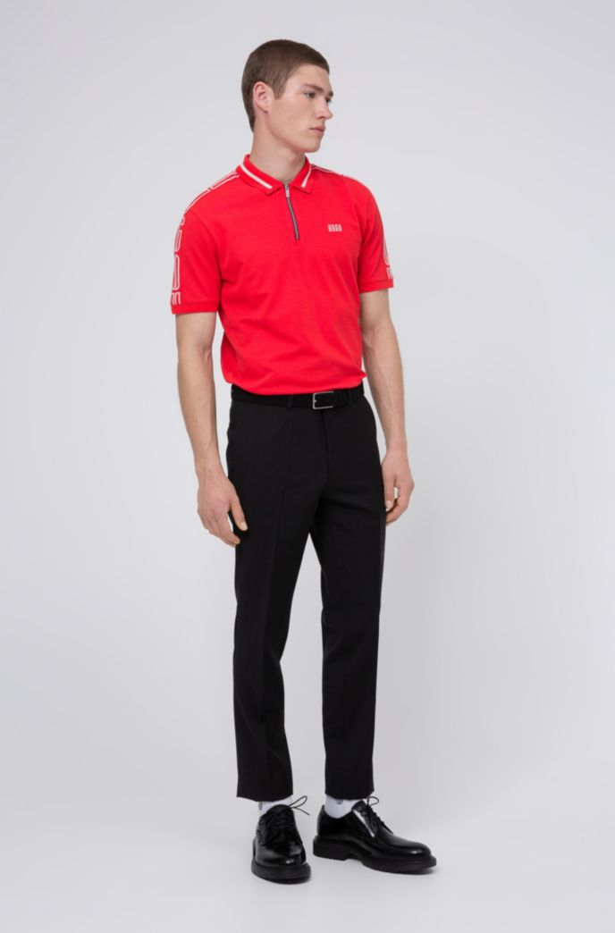 Cotton-piqué zip-neck polo shirt with logo tape sleeves