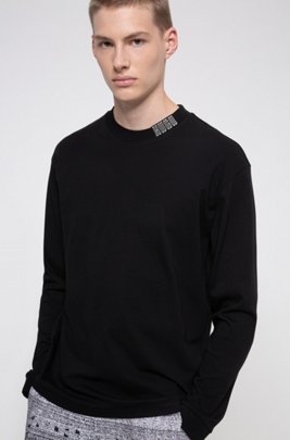 Long-sleeved cotton T-shirt with piano logo, Black
