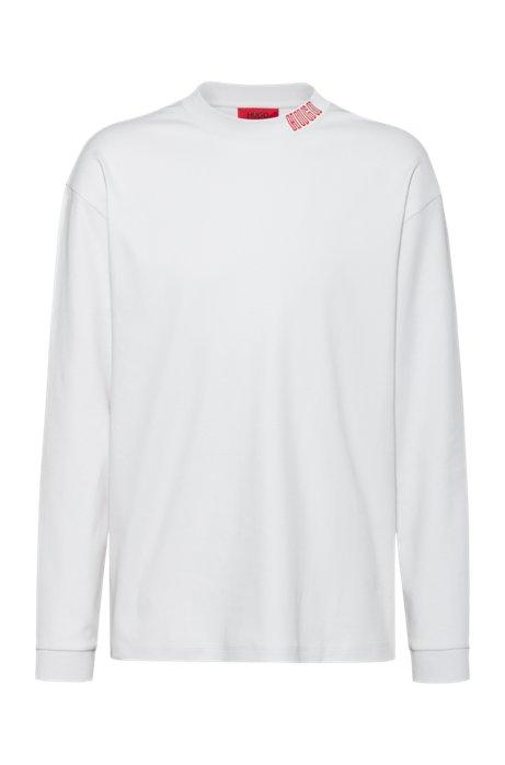 Longsleeve aus Baumwolle mit Piano-Logo, Weiß