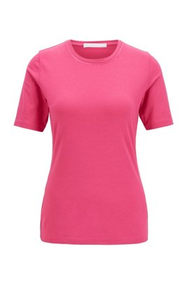 Crew-neck T-shirt in stretch fabric with embroidered details, Pink