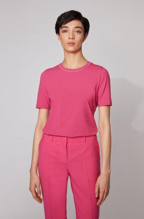 T-Shirt aus Stretch-Baumwolle mit Rundhalsausschnitt und Stickerei, Pink