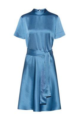 Slim-fit A-line dress in lustrous crepe georgette, Dark Blue