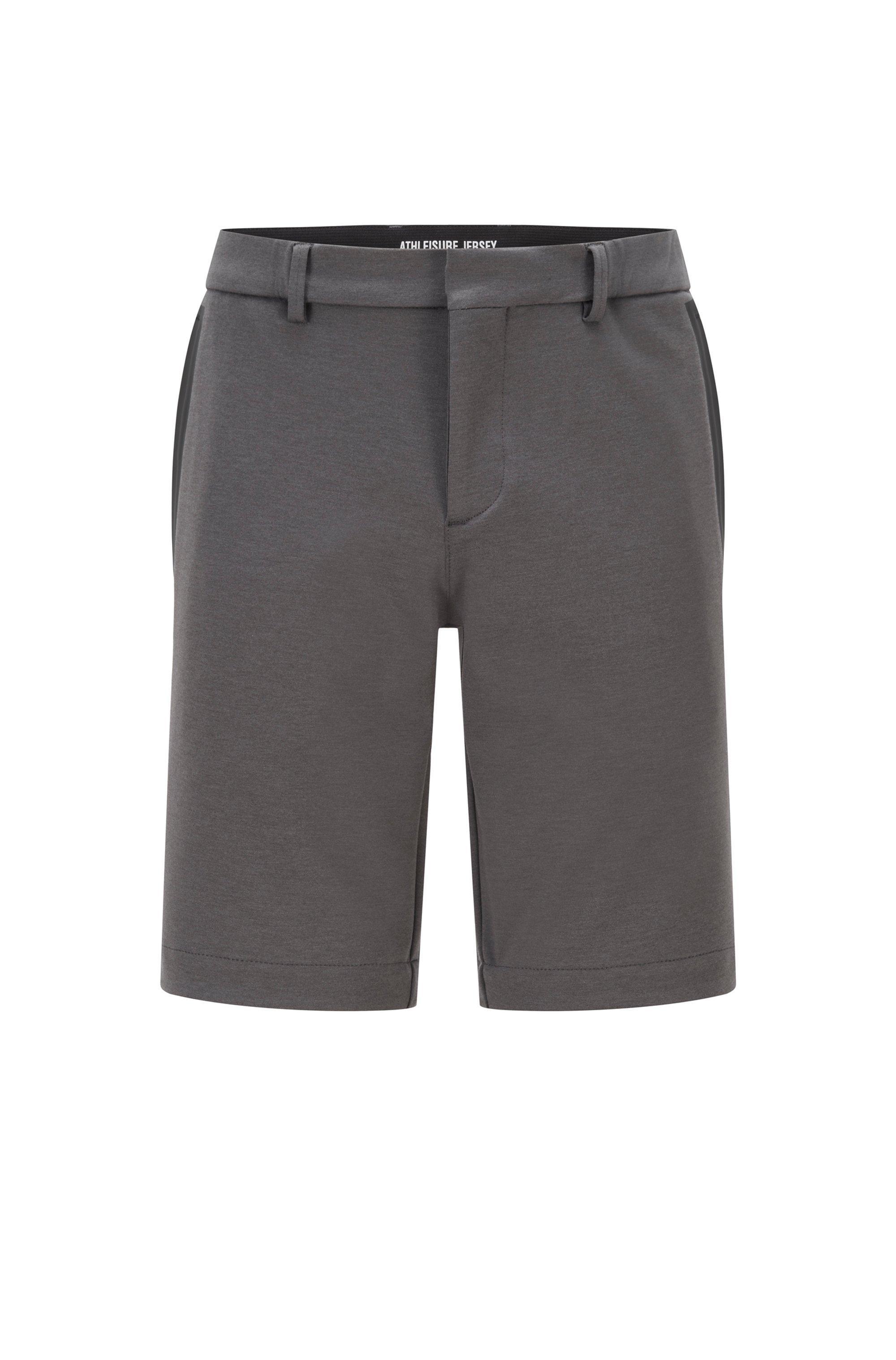 Short Slim Fit en jersey stretch avec passants, Gris sombre
