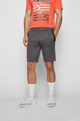 Slim-fit shorts in stretch jersey with belt loops, Dark Grey