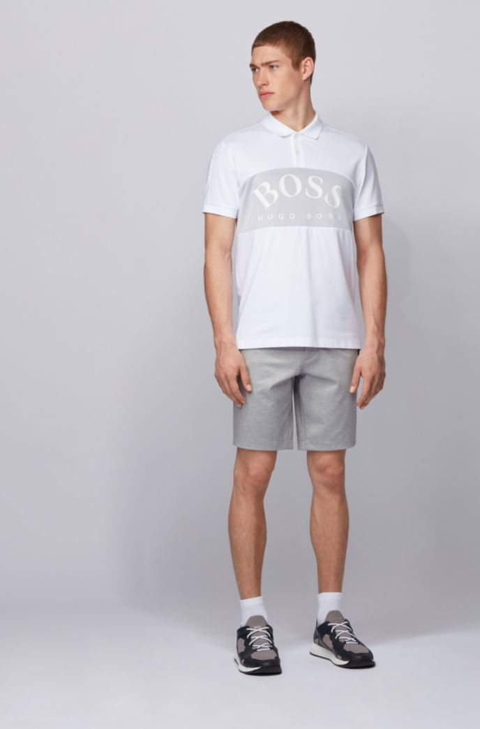 Slim-fit shorts in stretch jersey with belt loops