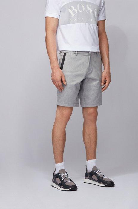 Shorts slim fit en punto elástico con trabillas del cinturón, Gris claro