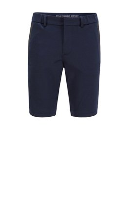 Slim-fit shorts in stretch jersey with belt loops, ダークブルー