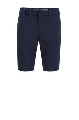 Short Slim Fit en jersey stretch avec passants, Bleu foncé