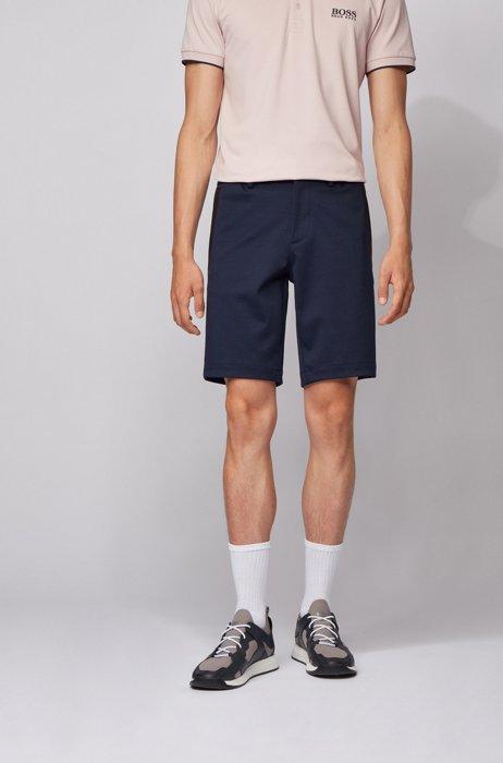 Bermuda slim fit in jersey elasticizzato con passanti, Blu scuro