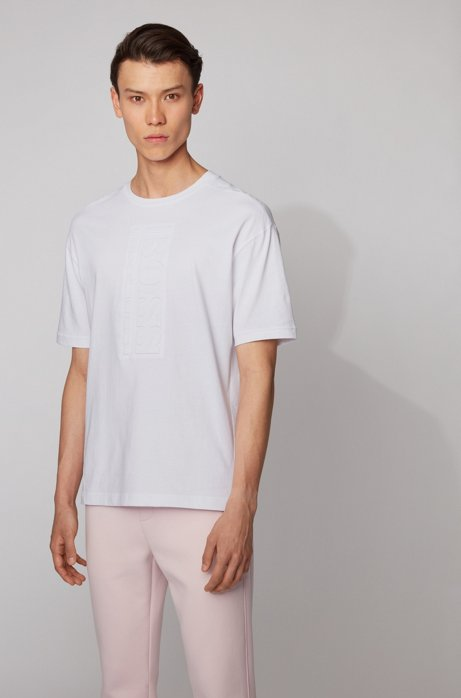 Cotton T-shirt with debossed vertical logo, White