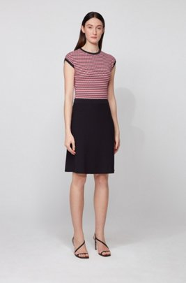 Knitted dress with three-tone jacquard top, Dark Red