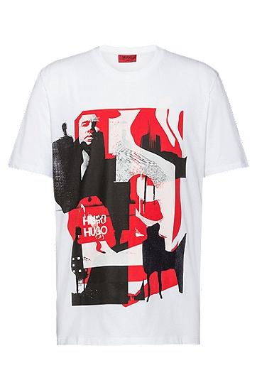 图形印花宽松版型男女同款棉 T 恤,  100_白色