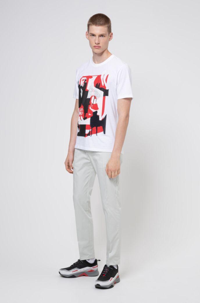 Uniseks, relaxed-fit T-shirt van katoen met grafische print