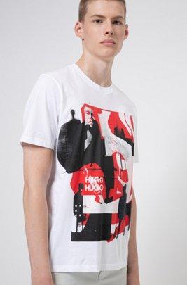 T-shirt Relaxed Fit mixte en coton à imprimé graphique, Blanc