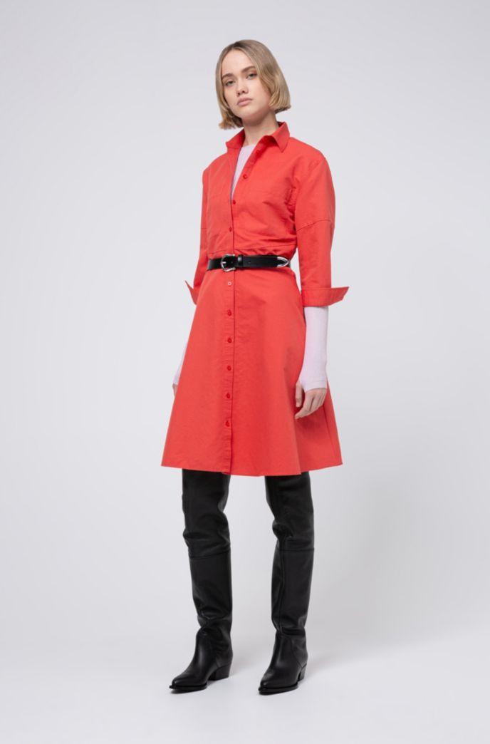 A-line linen-blend shirt dress with seam details