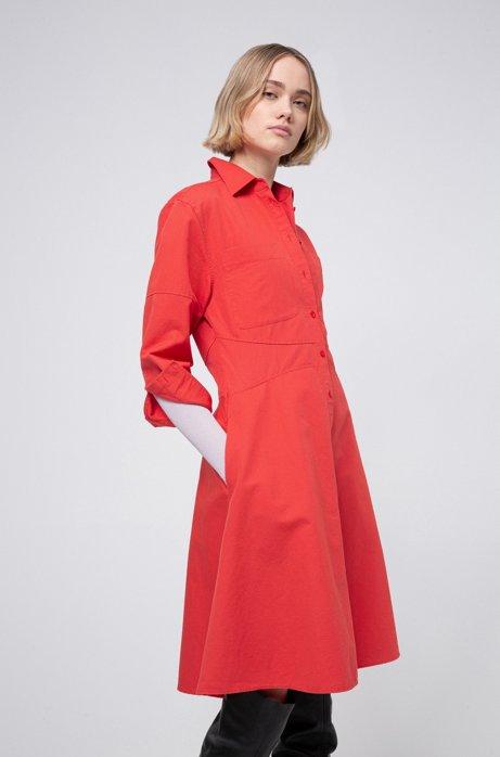 Robe-chemise évasée en lin mélangé avec coutures apparentes, Rouge