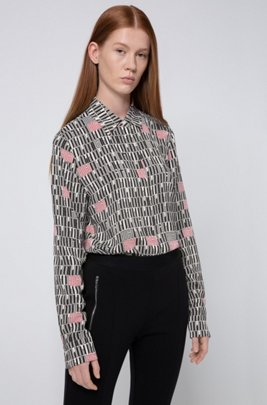 Blouse in crepe georgette with piano-logo print, Patterned