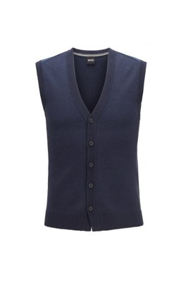 Knitted waistcoat in mixed-structure cotton, Dark Blue