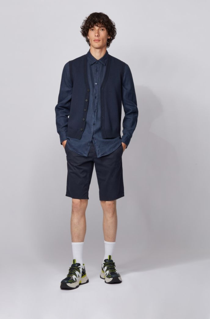 Knitted waistcoat in mixed-structure cotton