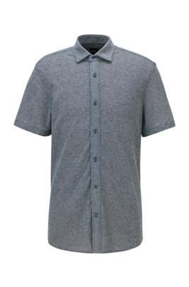 Regular-fit short-sleeved shirt in micro-dobby cotton jersey, Dark Blue