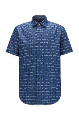 Chemise Regular Fit en twill de coton à imprimé tie-dye, Bleu foncé