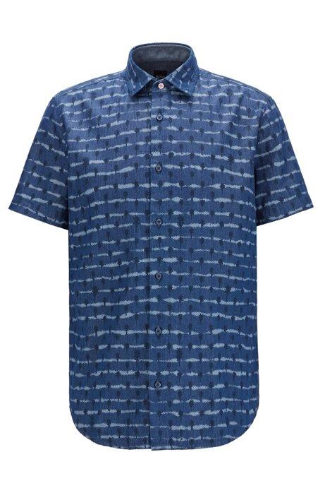 Regular-fit shirt in tie-dye-print cotton twill, Dark Blue