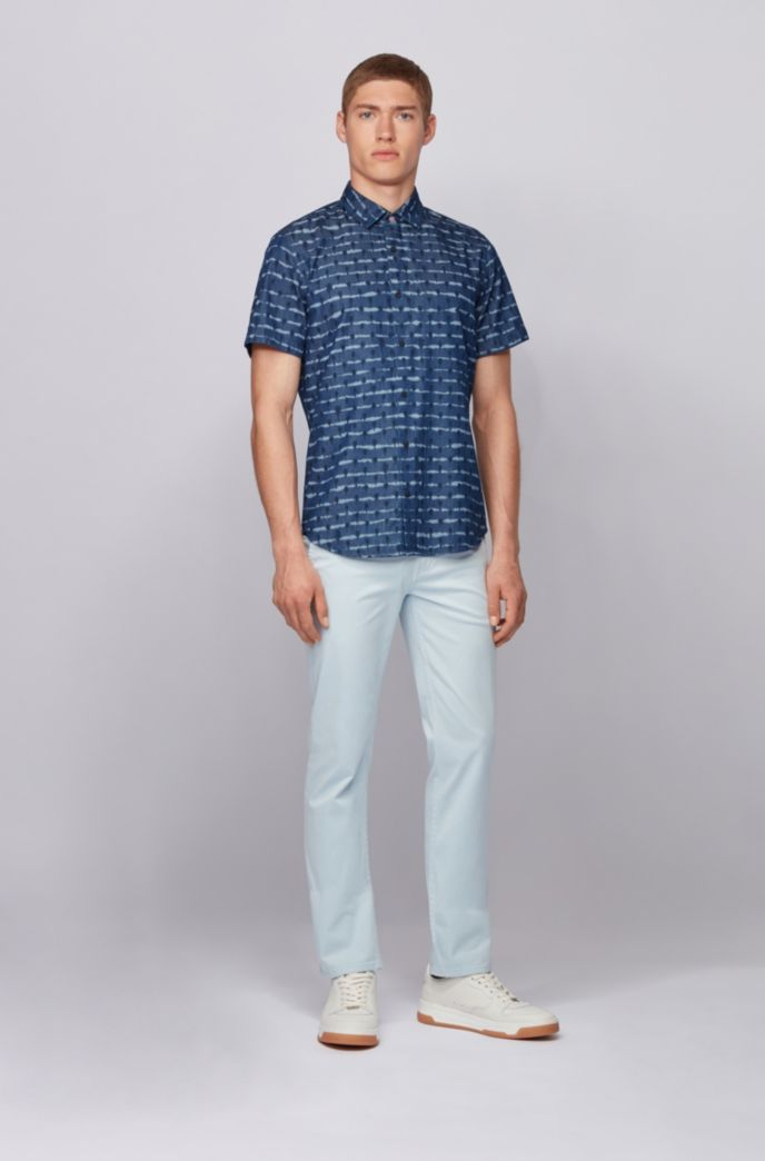 Regular-fit shirt in tie-dye-print cotton twill