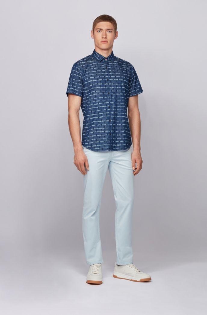 Camicia regular fit in twill di cotone con stampa tinta a nodi