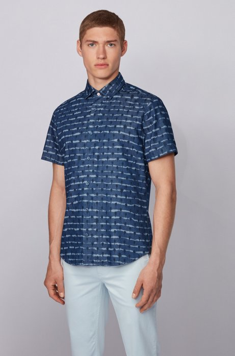 Camicia regular fit in twill di cotone con stampa tinta a nodi, Blu scuro