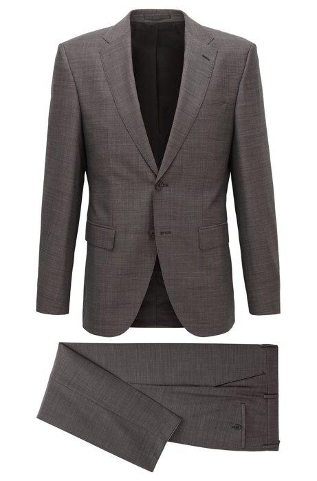 Regular-fit suit in melange wool, Grey
